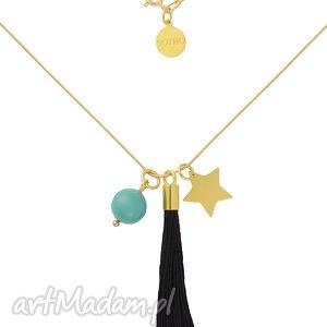 złoty modowy naszyjnik czarny chwost gwiazdka miętowa perła