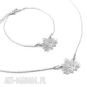 Srebrny komplet KWIAT LOTOSU pudełko, srebrny, komplet, kwiat, lotosu, naszyjnik