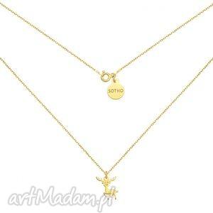 złoty naszyjnik z reniferkiem, modny, minimalistyczny, świąteczny, renifer