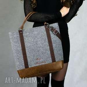 ręcznie wykonane torebki filcowa szara brązowa torebka tote classic brown
