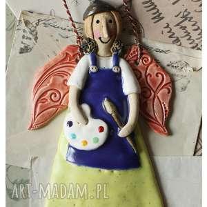 prezenty na święta, anioł malarka, ceramika, anioł, pędzel, paleta