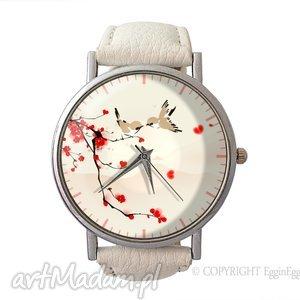 zakochane ptaszki - skórzany zegarek z dużą tarczą - zegarek, skórzany
