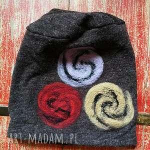 czapka damska wełniana melanż brązowa przeceniona (narty zima etno boho)