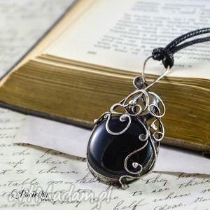 naszyjniki aria - naszyjnik z czarnym szkłem, wisior, naszyjnik, prezent, mama