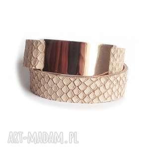 hand-made bransoletka skórzana cielista badge