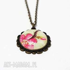 naszyjniki naszyjnik, medalion - różowy kwiat antyczny brąz, japoński