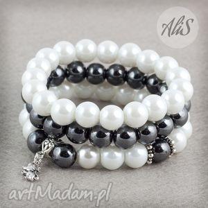 Perłowa elegancja - ,perły,hematyt,elegancka,dwukolorowa,gumka,