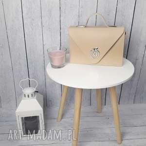 manzanatorebki sztywna torebka/teczka manzana klasyczna- beżowa, torebka, damska
