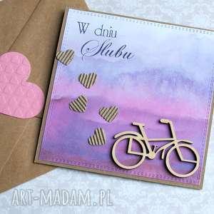 rowerowa kartka ślubna akwarele, rower, rowerzysta, rowerzystów, rowerzyści