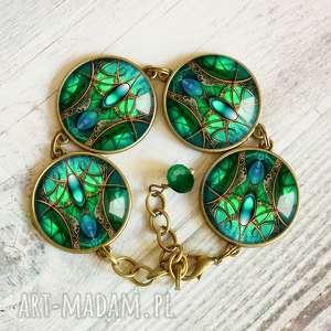 szmaragdowa komnata :: wyjątkowa piękna bransoleta, zielona, morski, duża, niezwykła