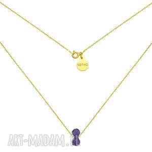 złoty naszyjnik z kryształowym ciężarkiem swarovski crystal, naszyjnik, ciężarek