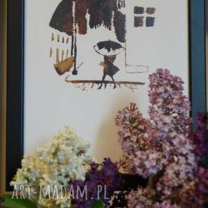 księżyc spóźnionych - obraz kawą malowany, coffeepainting, kawa, obraz