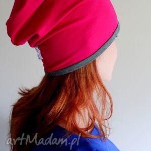 czapka dresowa dwustronna 2 w 1 - czapka, beanie, oversize, smerfetka, róż