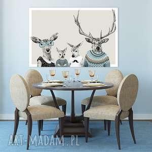 obraz na płótnie - 120x80cm rodzina jeleni 2 wysyłka w 24h 02198, jelonki