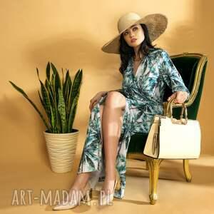 sukienki elegancka sukienka maxi palmy dzianina premium