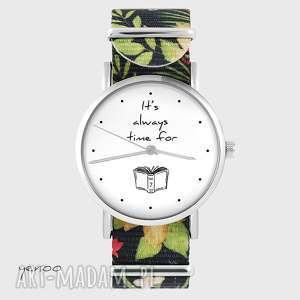 zegarek - it is always time for book kwiaty, nato, zegarek, bransoletka