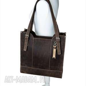 Prezent Ręcznie robiona skórzana torebka brązowa, skórzane torby, torebki