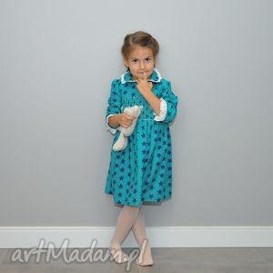 gwiazdka turkusowa - zimowa flanelowa sukienka - sukienka, gwiazdki, 3lata, flanelowa