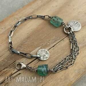 srebrna bransoletka ze szkłem antycznym, surowa biżuteria, szkło antyczne
