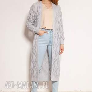 swetry ażurowy płaszcz - swe145 szary, płaszcz, długi sweter, kardigan