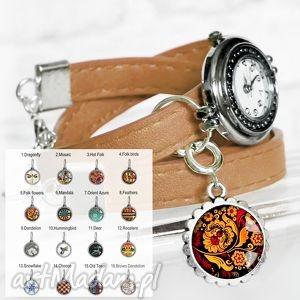personalizowany zegarek idealny prezent, rękę, zegarek, skórzany, beż
