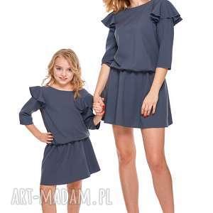 mama i córka sukienka odcinana w pasie dla córki ld8/1, falbana, sukienka