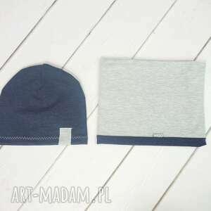 bukiet-pasji cienka czapka i komin dla chłopca - bawełna, wiosenna