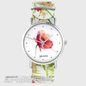 zegarek yenoo - mak kwiaty, nato, biały, zegarek, mak, kwiat, pasek, nato
