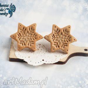 świąteczne kolczyki ciastka śnieżynki na prezent, kolczyki, sztyfty