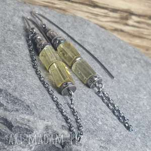 kolczyki srebrne z kwarcem cytrynowym, wiszące, ze srebra, kwarc