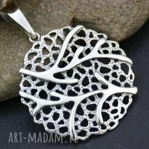 wisiorek srebrny - zawieszka, wisiorek, ażurowa, srebro, drzewo, masywna