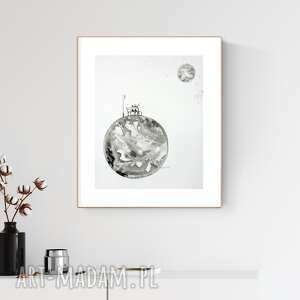 grafika 40x50 cm wykonana ręcznie, abstrakcja, styl skandynawski, czarno-biała