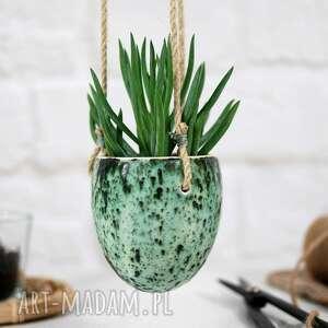 Nakrapiana zieleń - wisząca doniczka ceramiczna ceramika