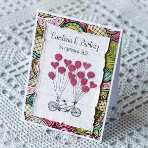 personalizowana kartka Ślubna z balonikami i tandemem - personalizowana, kartka