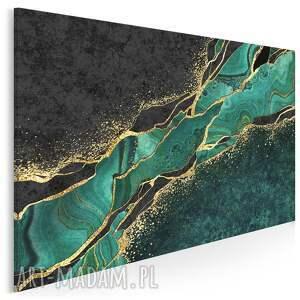obraz na płótnie - marmur zielony złoty czarny 120x80 cm 99401
