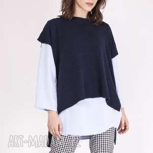 swetry asymetryczny dzianinowy top z przedłużanym tyłem, sweter, top, dzianina