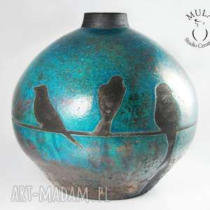 wazon raku jaskółki - ceramkia, wazon, raku, ptaszki