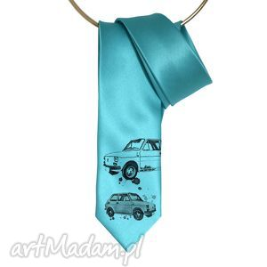 Krawat Maluch, krawat, maluch, nadruk, turkus, śledzik