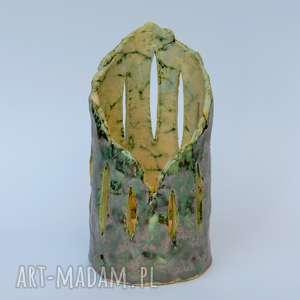 lampion ceramiczny ozdobny, szkliwiony, ceramika artystyczna, lampion, ozdoba