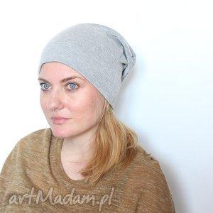 czapka dresowa szara dzianinowa - czapka, bawełna, dzianina, wiosna, unisex