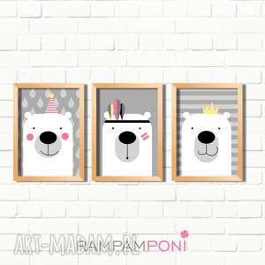 pokoik dziecka zestaw plakatów dla dzieci trzy urocze misie a4, pokoik, plakat