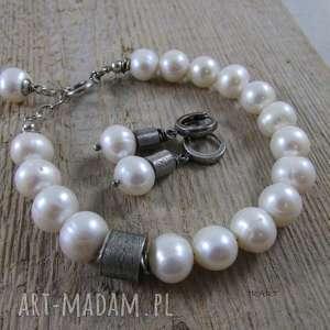 SATYNOWE WALCE Z PERŁĄ - kolczyki, perła, srebro, kolczyki