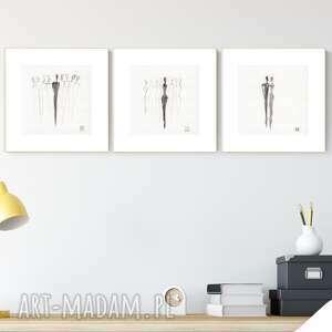 zestaw 3 grafik 20x20 cm wykonanych ręcznie, grafika czarno-biała, abstrakcja