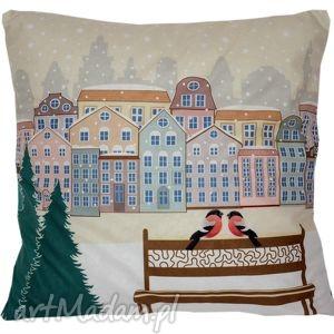 hand-made upominki na święta poduszka dekoracyjna zima w mieście