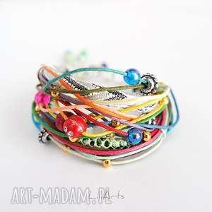 bransoletka - kolorowa 2 sznureczki, bransoletka, sznurki, rzemienie, koraliki