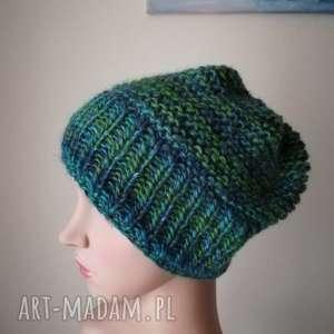zielenie i turkusy czapka, rękodzieło, bezszwowa, druty, prezent