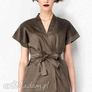 Kopertowa bluzka z paskiem, kimono,