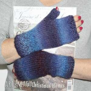 rękawiczki ombre niebieskie, na druch, prezent, miękkie, wygodne