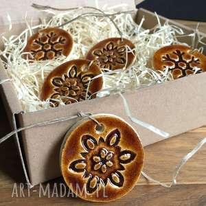 ręczne wykonanie prezenty na święta ceramiczne śnieżynki