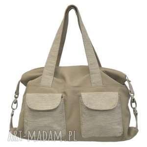 09-0010 beżowa torba sportowa / torebka fitness tit, torebki-skórzane